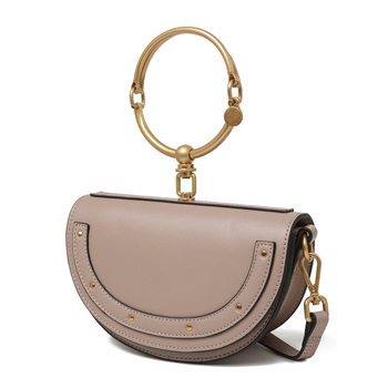 Hot semicircle women s mini tote bags genuine leather single shoulder  messenger bags drop shipping 85c24a41a3