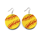 Fashion Colorful Lightweight Dangle Round Hoop Golden Teardrop Genuine Leather Baseball Earrings