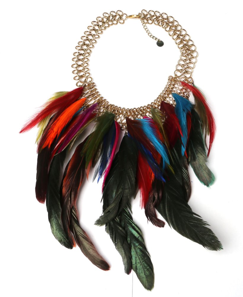 Feather wholesale pendant full neck covering necklace design