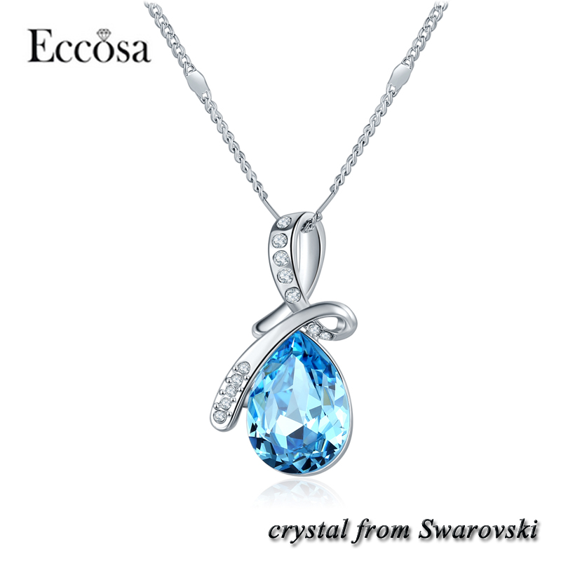 Eccosa Factory Price Custom tear of angel Pendant Necklace with Crystals from Swarovski