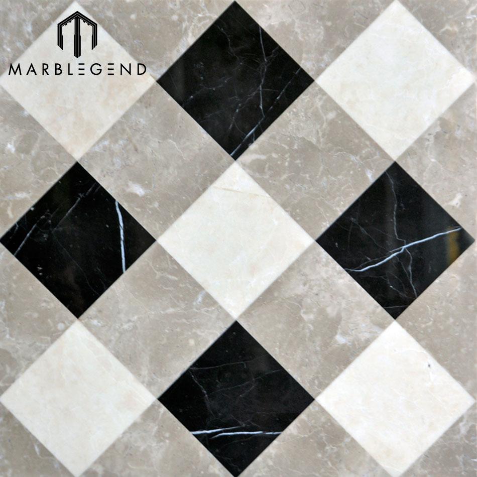 Custom modern waterjet marble tile indoor composite laminate marble flooring