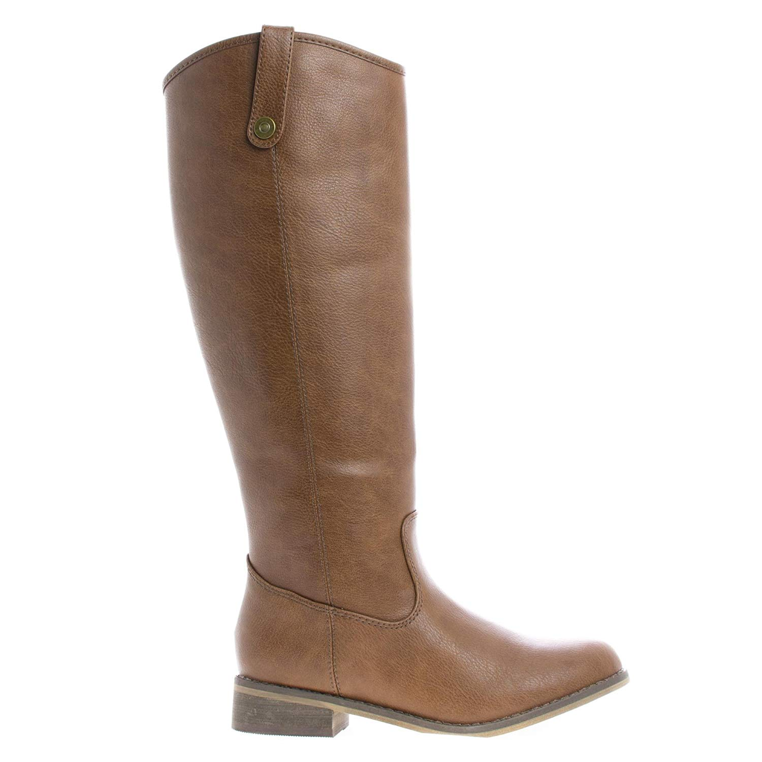 Knee High Almond Toe Western Faux Wooden Heel Riding Boots