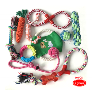 10pcs Pet dog cotton rope toy set with Hand ball corn carrot Interactive chew Toys for dog Clean Teeth