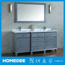 Floor Mounted Double Sink Bathroom Cabinet With Marble Countertop