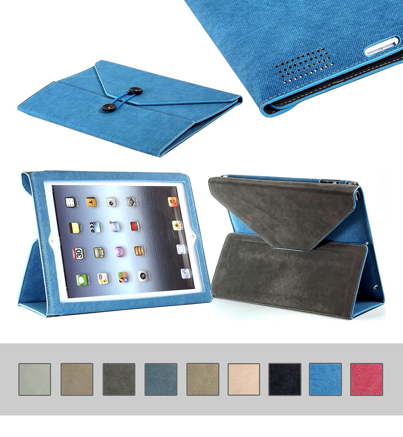 BTM Denim Envelope Jean Portfolio Case Cover Protector for Apple Ipad 2nd 2, 3, 4th 4 Generation Retina Display w/ Elastic Strap & Great Holder | Cute for the Girly Girl | Protective Durable Designer Stand | Cheap Price, Great Value - Blue