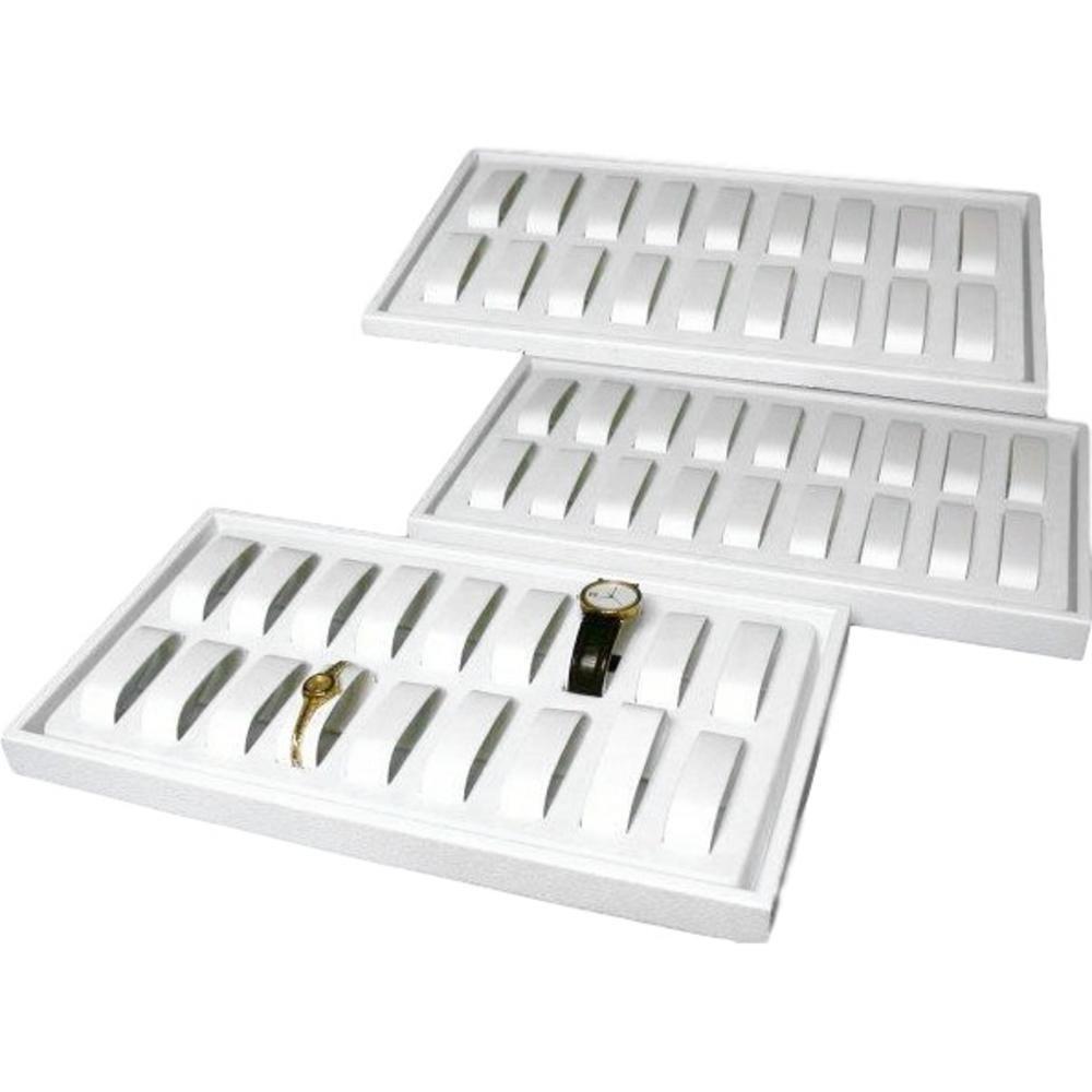 3 18pc White Watch & Jewelry Showcase Display Trays