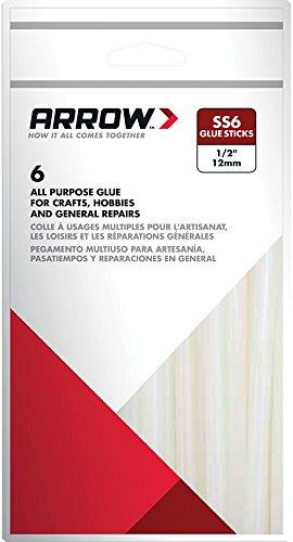 Arrow Fastener SS6 Slow Set 1/2-Inch Glue Sticks, 6-Pack
