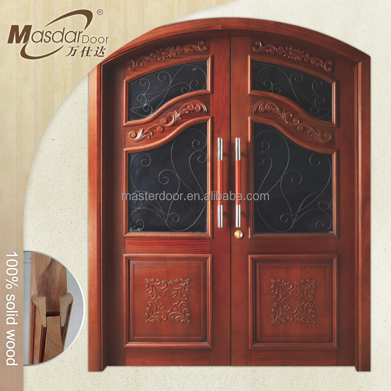 Round top exterior wooden entry door with glass insert