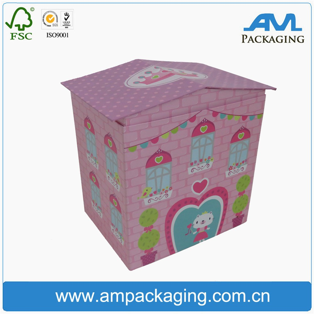 Custom house shape paper cardboard gift box with magnet for kid toy
