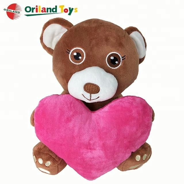 plush valentines day bear with heart