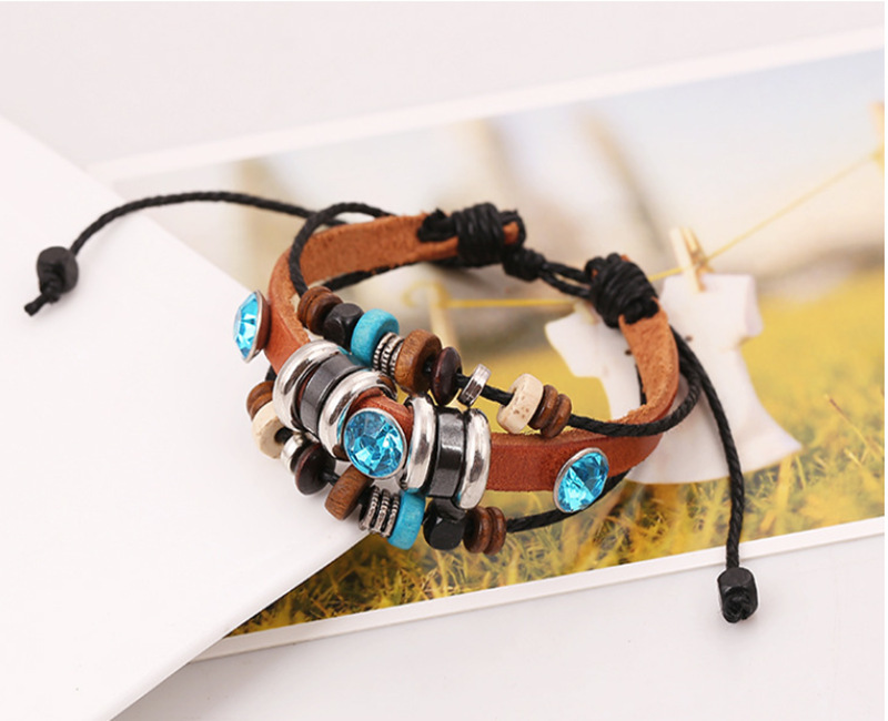 SH-5 Multilayer Woven Blue Crystal Leather Bracelets Trendy Bracelets For Unisex Wholesale Fashion Leather Bracelets