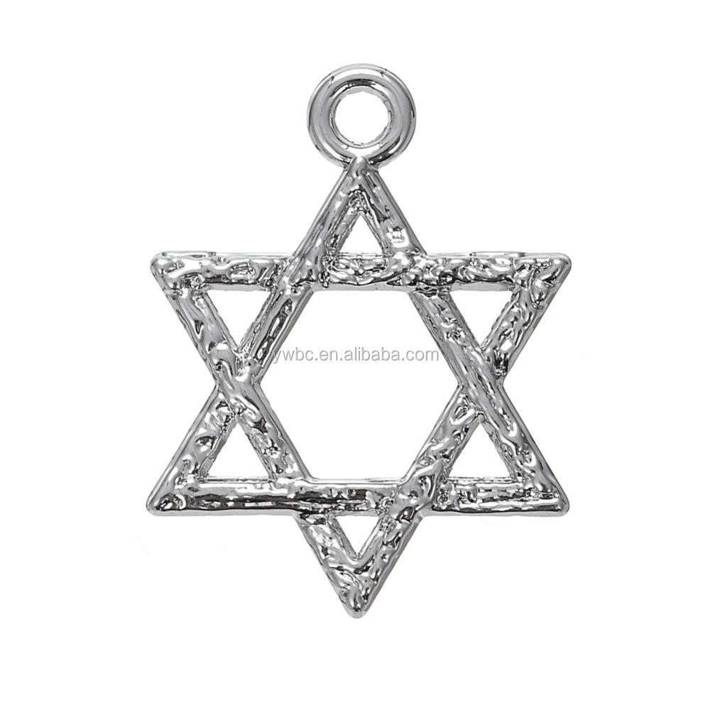 Lot 10 Judaica Chai Star David Charms Pendent Jewish Jewelry Rhodium Plated NEW