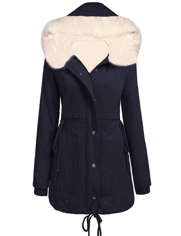 Pandapang Mens Fleece Lined Faux Fur Hooded Winter Windbreaker Jacket Outwear Warm Parka Coat