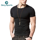 95 cotton 5 spandex men's black fitted t shirts wholesale round neck fitness blank muscle fit t shirt for men
