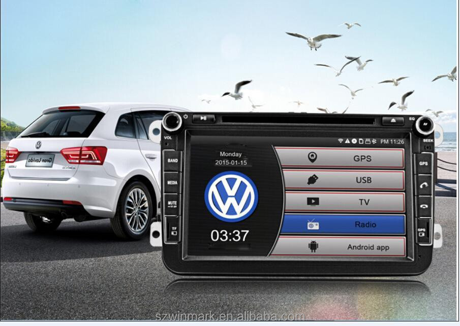 "DQ8015 8"" double din 1024*600 resolution HD screen car dvd player for all VW series with pure <strong>android</strong> 4.4.4 OS"