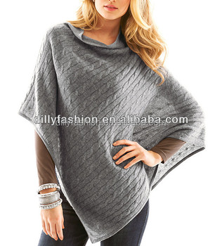 Cashmere Women's Cable Knit Sweater Poncho - Buy Cable Knit ...