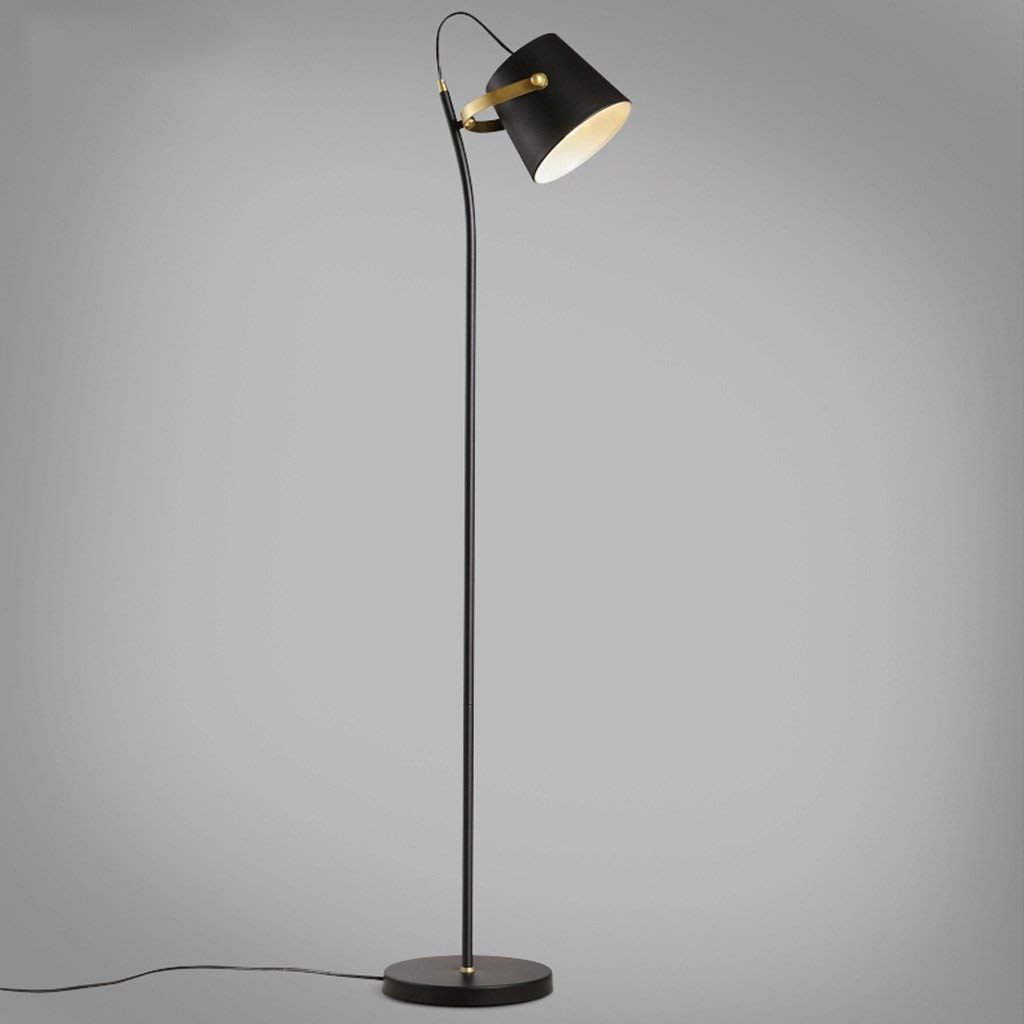 Personality Iron Material Adjustable Lamp Shade Bedroom Bedside Floor Lamp, Modern Minimalist Living Room Dining Room Vertical Black Floor Lamp, Nordic Style Single Pole Wrought Iron Floor Lamp