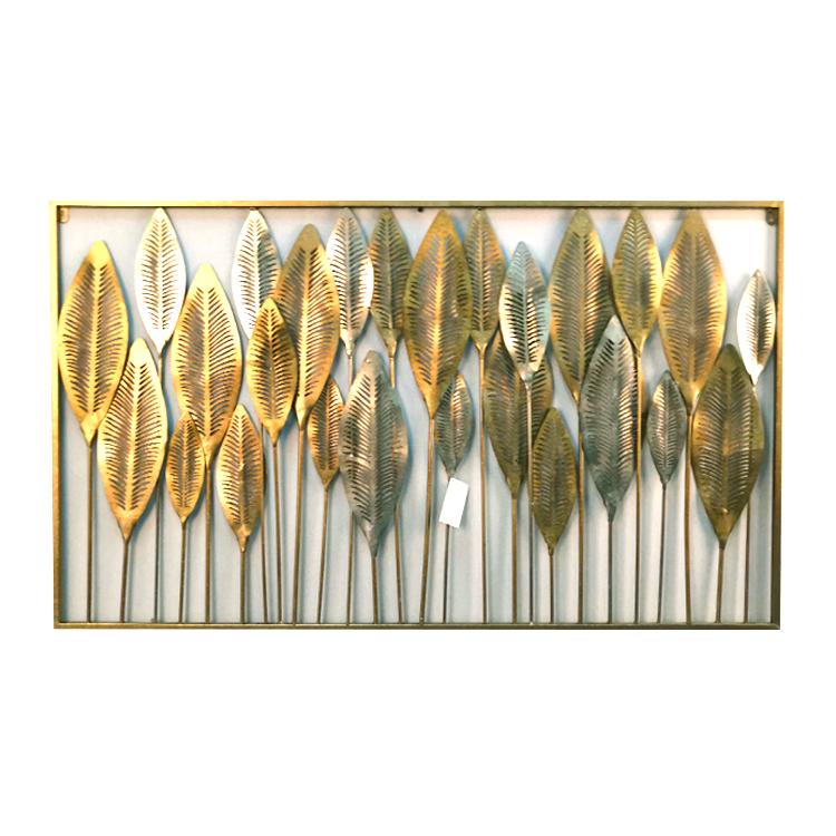 Home Decor Gorgeous Handicraft Antique Metal Golden Exterior Outdoor Silver Gold Leaves Wall Art