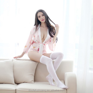 White & pink Cute Hot Japan Bathrobe Sexy Lingerie with Waistband
