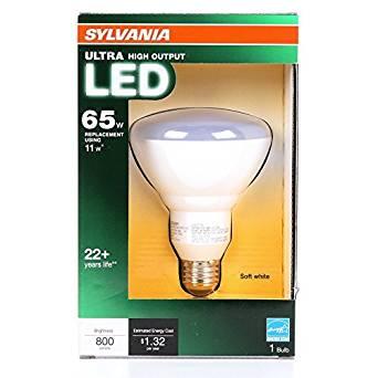Sylvania Ultra 11-Watt (65W Equivalent) 2,700K BR30 Medium Base (E-26) Soft White Dimmable Indoor LED Flood Light Bulb! 6-Pack!