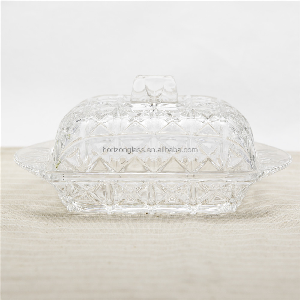 New Design Glass Base Butter Dish with lid clear glass butter dish glass plate