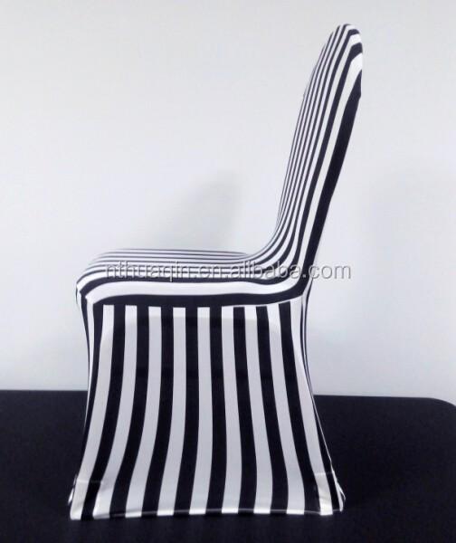 spandex housses de chaise de banquet noir et blanc bande, rayé