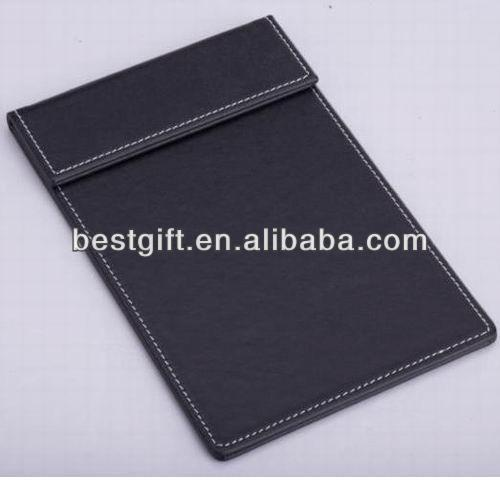 Magnetic Office/Hotel Desktop Leather A4 File Paper Clip memo pad Folder With Pen