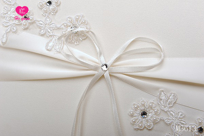 M3613 Elegant Embroidery and Beaded Satin Wedding Guest Book for Bridal