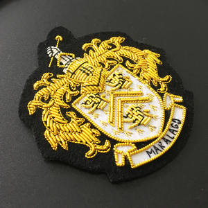 OEM and ODM Welcome Sew-on Applique Patch Hand made Embroidery Gold Bullion Wire Embroidered Blazer Military Uniform Cap Badge
