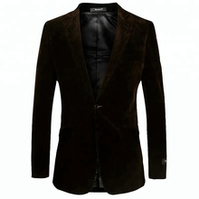 Top Quality New Design Functional Button Coffee Custom Velvet Suit Blazer