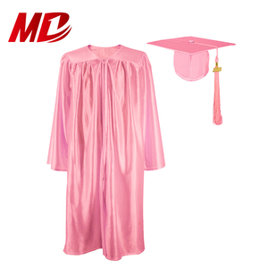 Factory Price Shiny Pink Cap Tassel Graduation Gown