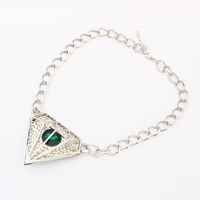 Imitation diamond jewelry fashion women silver necklace chains thin diamond shaped indian emerald silver necklace PN2727