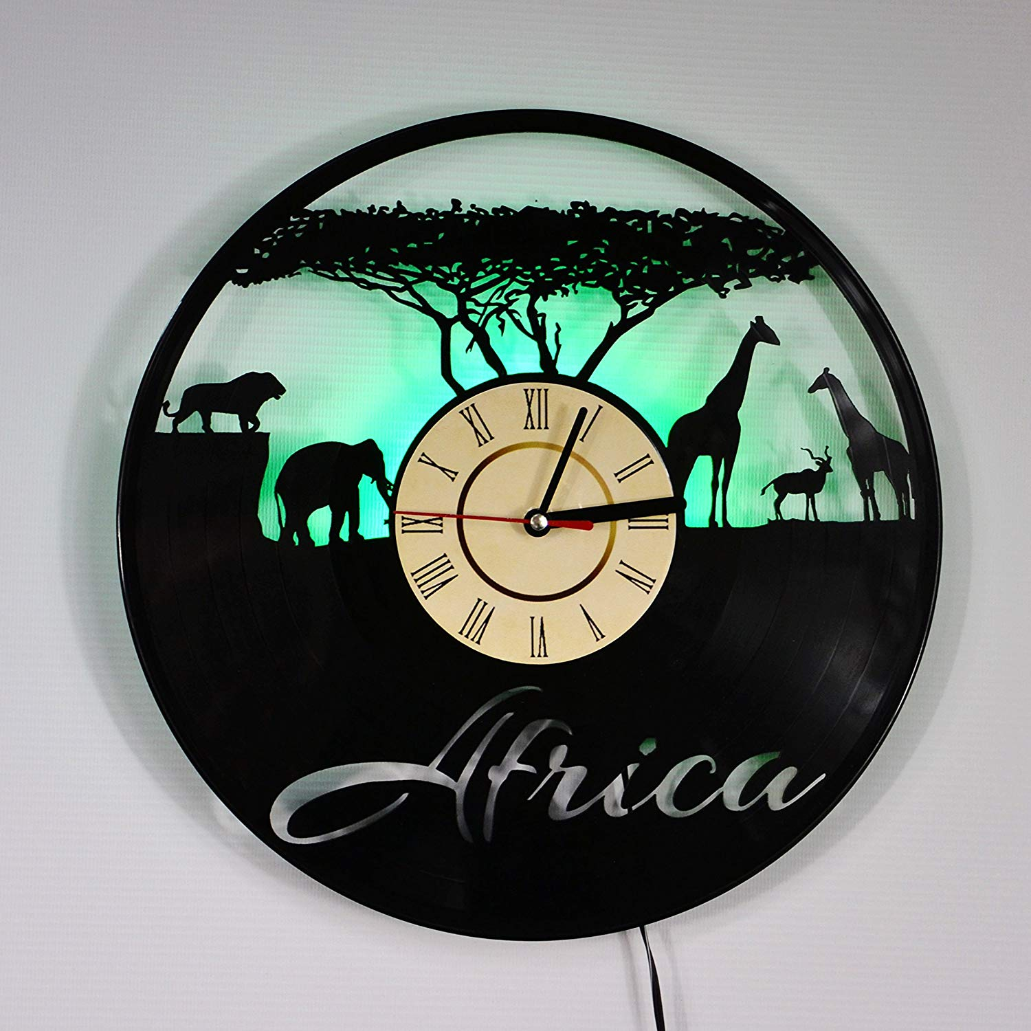 AFRICA LED Backlight Vinyl Wall Clock Night Color Change Atmosphere Light Lamp Creative Classic Cool Living Room Interior Decor Led Time Clock With Color Green Light