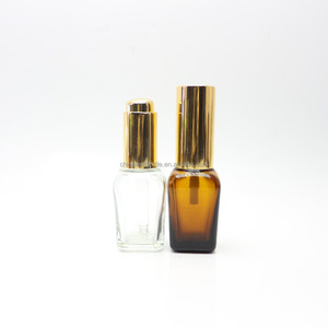 25ml square clear amber dropper glass bottle for make up S-295