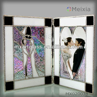 MX020038 china wholesale tiffany style rainbow shine stained glass photo picture frame for fancy wedding gift favor