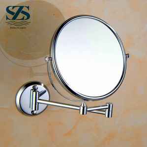 high quality wall mounted brass material chrome surfeca makeup mirror