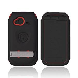 OEM Trident Kraken AMS HTC Droid Incredible 4g LTE Hard Case on Silicon W/ LCD Protector/Kickstand/Belt Clip - Black/ Red