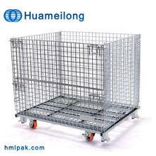 Logistic equipment wire storage basket with wheels