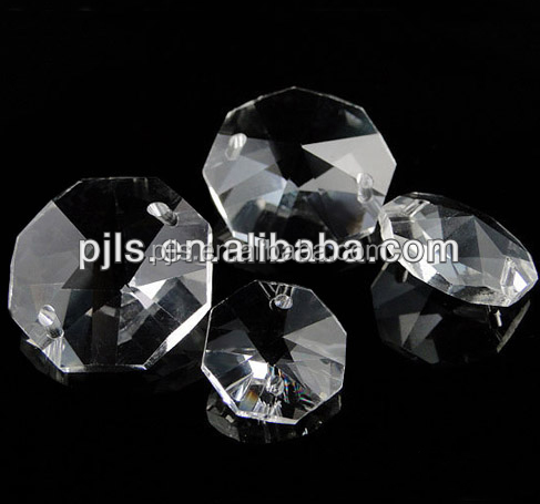 clear cheap price octagonal crystal beads, octagonal glass beads