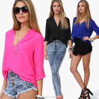 Instyles latest new model of ladies blouse Shirt Spring Summer Long Sleeve Chiffon V-neck Blouse ZT002554 best Clothing
