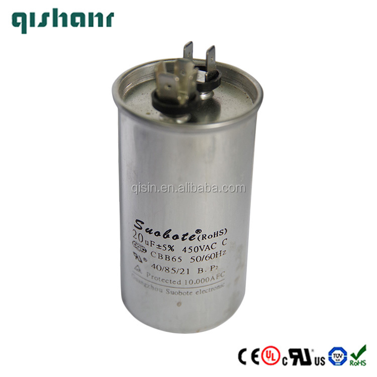 Air Conditioner AC 450V 20uF 50/60Hz Motor Run Film Capacitor CBB65
