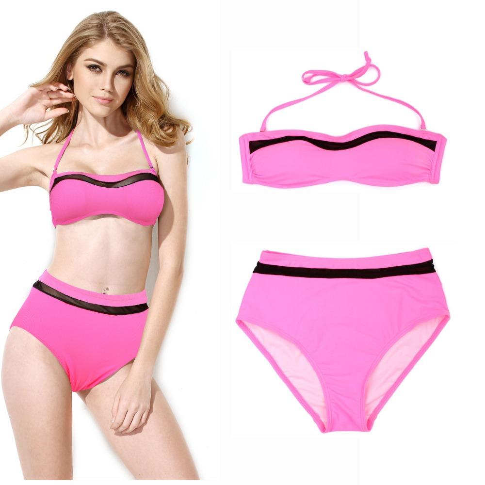 cdef4f8a2d9 Get Quotations · 2015 Sexy Women Pink Mesh Push Up Padding Bandeau Top + High  Waist Bottom Strap Bikini