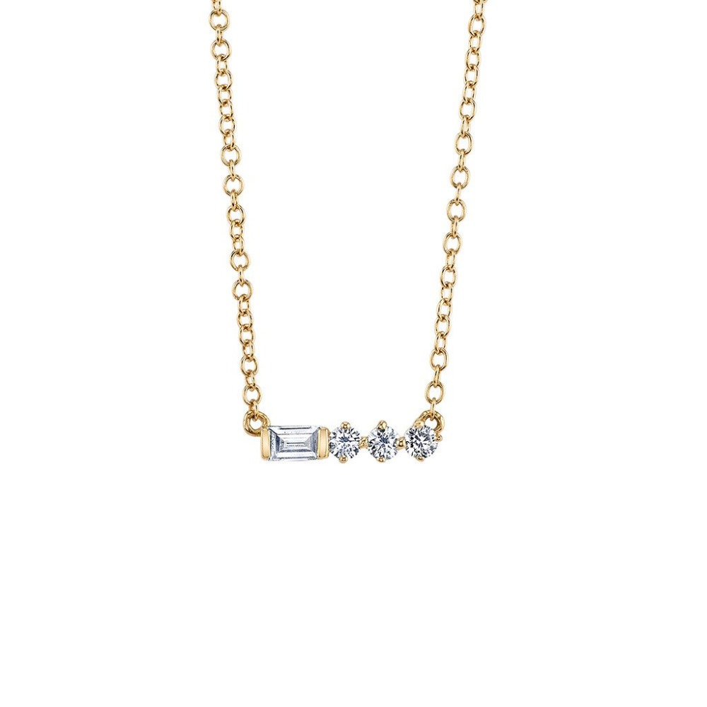 fashion nice ladies gold horizontal bar necklace chain with zirconia
