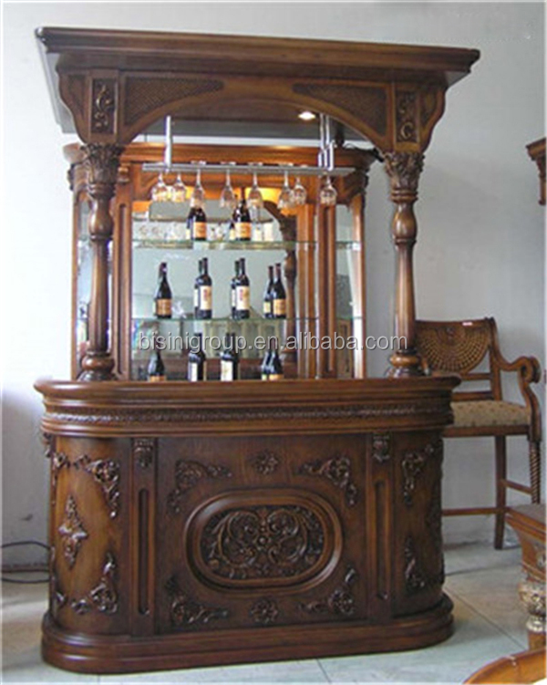 Victorian Antique Style Wooden Home Wine Cabinet Bar Furniture, Pub Bar Tavern, Club Bar Counter