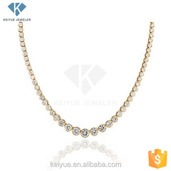 Latest Design Saudi Gold Plated Chain Cz Stone Jewelry Simple Tennis