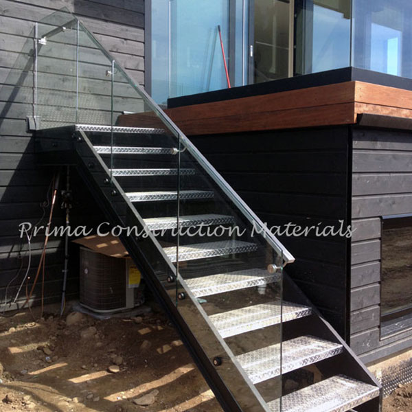 Iron Outdoor Stairs With Aluminum Double Stringer Galvanized Stair
