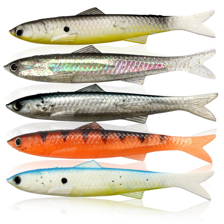 "bouti1583 5 pcs 5"" Fishing Lures Floting Baits Soft Baits 3D Scales Eyes CrankBaits Hooks"