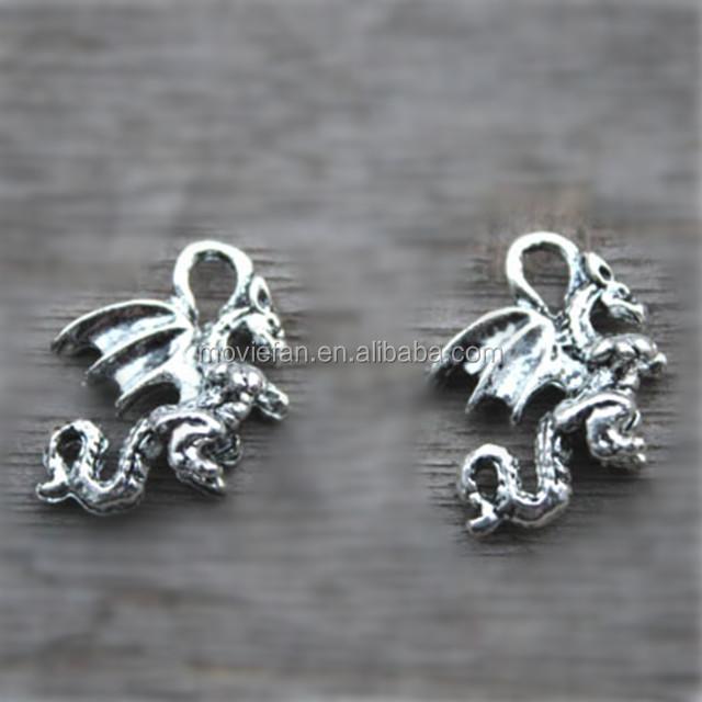 Fantasy with Dragon Vein Agate 3D Dragon silver charm earrings Steam Punk
