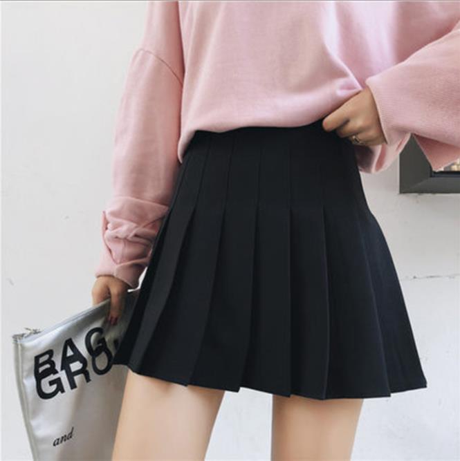 2019 春夏の新女性のプリーツスカートハイウエストチェック柄女性ショートスカート