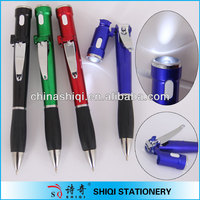 fancy led light ball pen with nail scissors